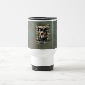 Fathers Day - Stone Paws - Rottweiler - SambaParTi 15 Oz Stainless Steel Travel Mug