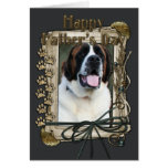 Fathers Day - Stone Paws - Saint Bernard Greeting Card