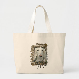 Fathers Day - Stone Paws - Saluki - Dad Large Tote Bag