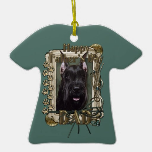 Fathers Day - Stone Paws - Schnauzer Double-Sided T-Shirt Ceramic Christmas Ornament