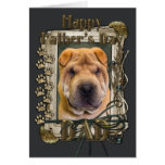 Fathers Day - Stone Paws - Shar Pei Greeting Card