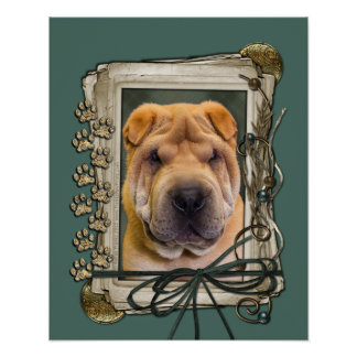 Fathers Day - Stone Paws - Shar Pei Poster