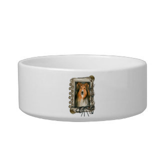 Fathers Day - Stone Paws - Sheltie Cat Food Bowl