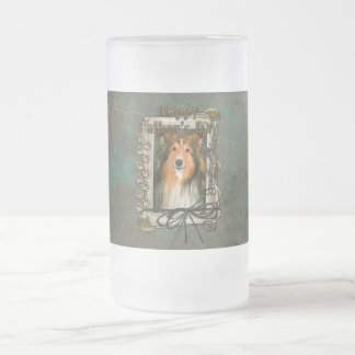 Fathers Day - Stone Paws - Sheltie Frosted Glass Beer Mug