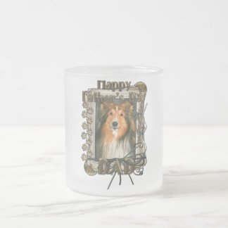 Fathers Day - Stone Paws - Sheltie Frosted Glass Coffee Mug