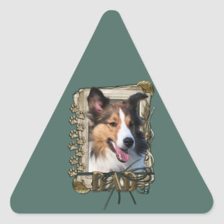 Fathers Day - Stone Paws - Sheltie Triangle Stickers
