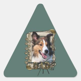 Fathers Day - Stone Paws - Sheltie Triangle Sticker