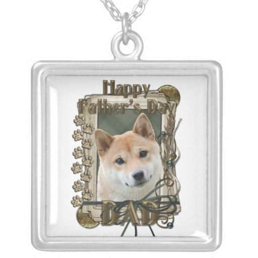 Fathers Day - Stone Paws - Shiba Inu Square Pendant Necklace
