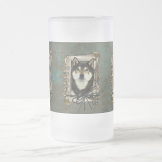Fathers Day - Stone Paws - Shiba Inu - Yasha Frosted Glass Beer Mug