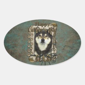 Fathers Day - Stone Paws - Shiba Inu - Yasha Oval Sticker