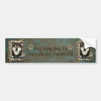 Fathers Day - Stone Paws - Shiba Inus - Yasha Car Bumper Sticker