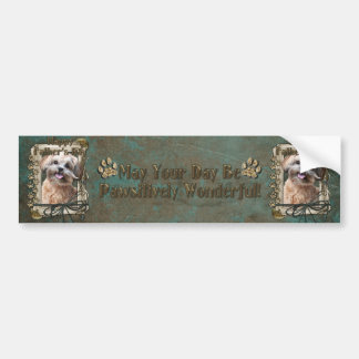 Fathers Day - Stone Paws - ShihPoo - Maggie Car Bumper Sticker