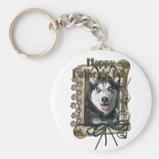 Fathers Day - Stone Paws - Siberian Husky Basic Round Button Keychain