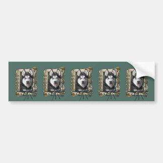Fathers Day - Stone Paws - Siberian Husky Car Bumper Sticker