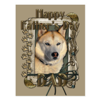 Fathers Day - Stone Paws - Siberian Husky - Copper Postcard