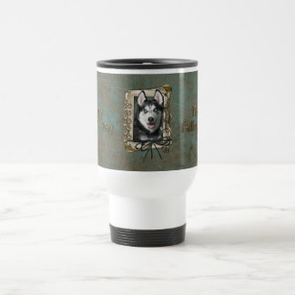 Fathers Day - Stone Paws - Siberian Husky 15 Oz Stainless Steel Travel Mug