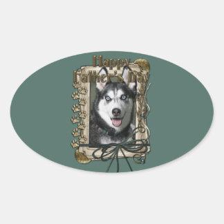 Fathers Day - Stone Paws - Siberian Husky Oval Sticker