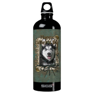 Fathers Day - Stone Paws - Siberian Husky Water Bottle
