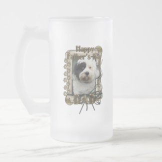 Fathers Day - Stone Paws - Tibetan Terrier - Dad Frosted Glass Beer Mug