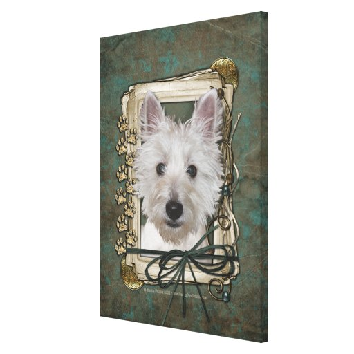 Fathers Day - Stone Paws - West Highland Terrier Canvas Print