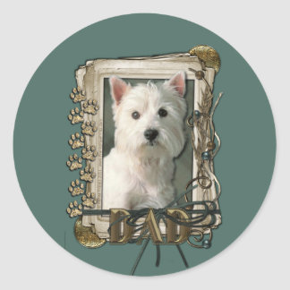 Fathers Day - Stone Paws - West Highland Terrier Classic Round Sticker