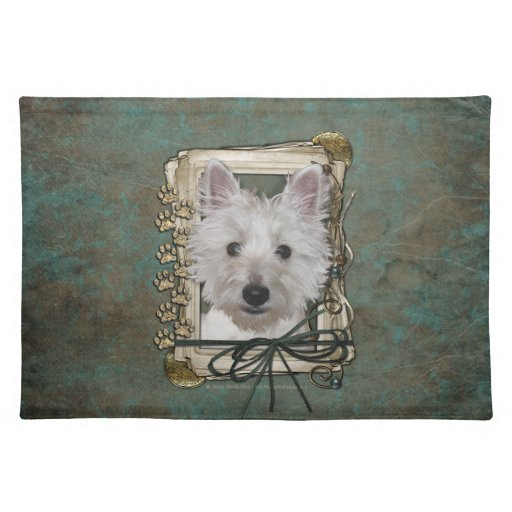 Fathers Day - Stone Paws - West Highland Terrier Cloth Placemat