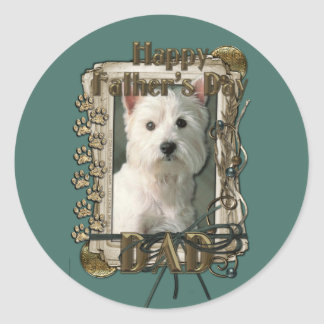 Fathers Day - Stone Paws West Highland Terrier Dad Classic Round Sticker