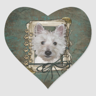 Fathers Day - Stone Paws - West Highland Terrier Heart Sticker