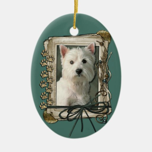 Fathers Day - Stone Paws - West Highland Terrier Double-Sided Oval Ceramic Christmas Ornament