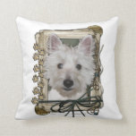 Fathers Day - Stone Paws - West Highland Terrier Throw Pillows