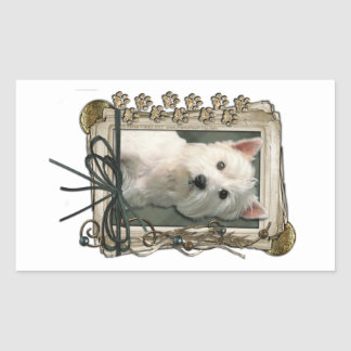 Fathers Day - Stone Paws - West Highland Terrier Rectangular Sticker