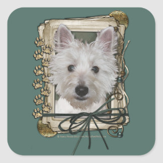 Fathers Day - Stone Paws - West Highland Terrier Square Sticker