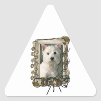Fathers Day - Stone Paws - West Highland Terrier Triangle Sticker