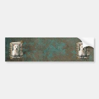 Fathers Day - Stone Paws - Westie Car Bumper Sticker