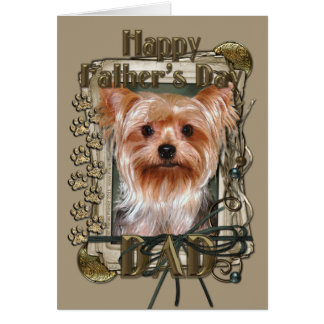 Fathers Day - Stone Paws - Yorkshire Terrier Greeting Card