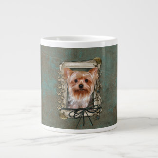 Fathers Day - Stone Paws - Yorkshire Terrier Large Coffee Mug