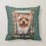 Fathers Day - Stone Paws - Yorkshire Terrier Throw Pillows