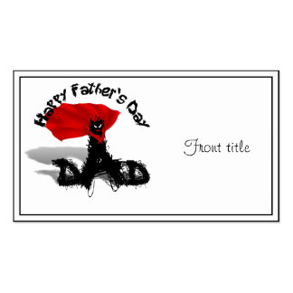Father's Day Super Dad Scribble Text With Cape Business Card