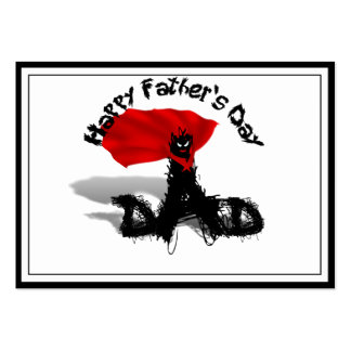 Father's Day Super Dad Scribble Text With Cape Business Cards