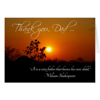 Father's Day Thank You Shakespeare Quote Card