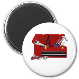 Father's Day Tool Box Initial A 2 Inch Round Magnet