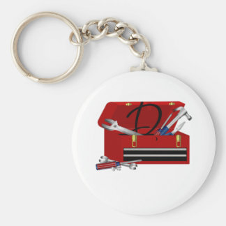 Father's Day Tool Box Initial D Basic Round Button Keychain