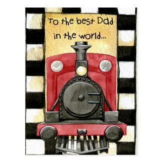 Father's day train Locomotive postcard - best dad