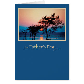 Father's Day, Trees in Water, Sunset Birds Religio Card