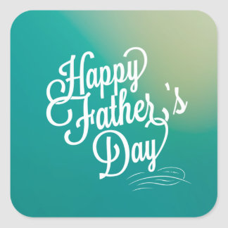 Father's Day Typography design in blue green Square Sticker