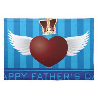 Father's Day with Crown and Flying Heart Illustrat Placemat