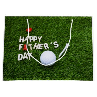 Father's day with golf ball on green large gift bag