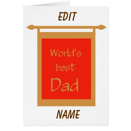 Father's Day World's Best Dad Banner Customize Greeting Cards
