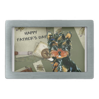 FATHER'S DAY YORKIE  POO RECTANGULAR BELT BUCKLE