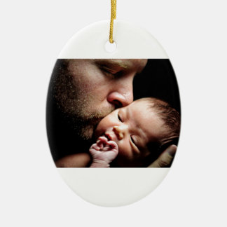 Father's Kiss Ceramic Ornament